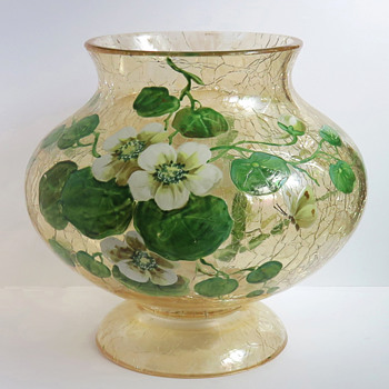 Moser Topaz Crackle Bowl with Nasturtiums
