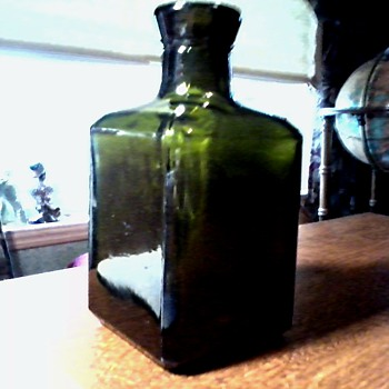 Interesting Little Dark Green Glass Bottle /  Vetri Speciali S.p.A. Pergine Valsugana Italy / Circa 1974 or later