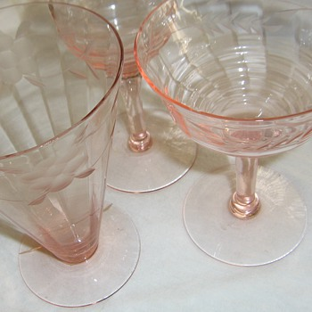 Pink Elegant or Depression Ware glass Grandmother's wedding 1930 - Glassware
