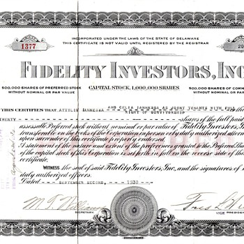 Fidelity Investors Inc 1930 Preferred Certificate - US Paper Money