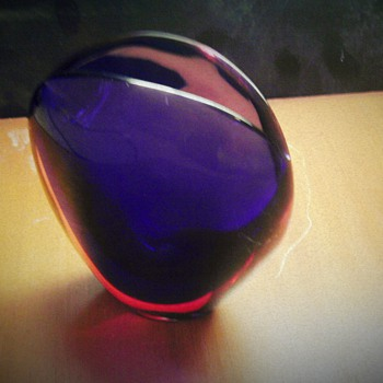 """1954 Flavio Poli Valva Vase """"Ruby/Blue"""