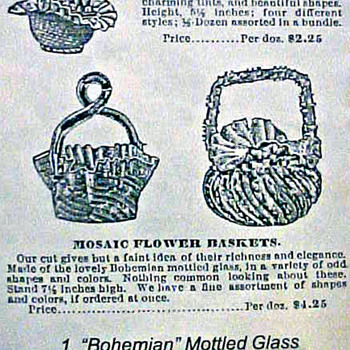 1891 Falkner & Stern Advertisment for Victorian Bohemian Baskets... - Art Glass