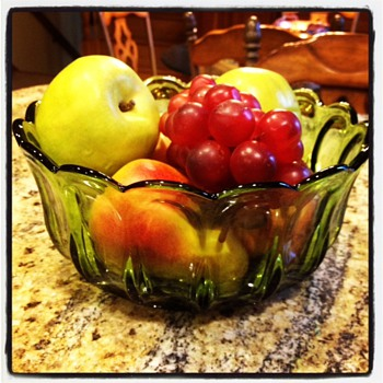 Simple elegance...green depression glass, fruit bowl - Glassware