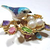 CIRO Bird in the Nest Brooch with Genuine Pearl Eggs