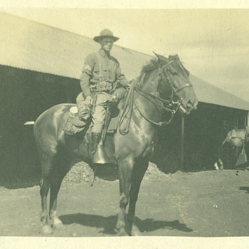 WWI U.S. Cavalry Coporal Trooper on Horseback with full gear RPPC - Military and Wartime