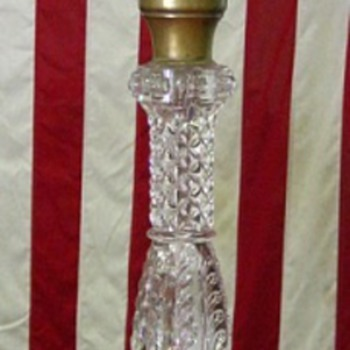 Extra Tall Pattern Glass Oil Lamp (E. Miller w/ Apollo Duplex) - Lamps