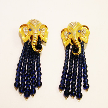 "Vintage Elizabeth Taylor for Avon ""Elephant Walk"" Earrings - Costume Jewelry"