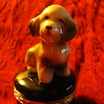 French Limoges Style Unmarked Antique / Vintage Bichon Frise Trinket Box