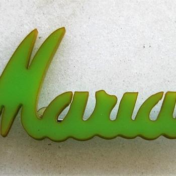 Marian green bakelite brooch