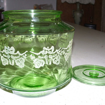 Green Depression Jar, with etching cut in glass. Need help with Info on this piece - Glassware