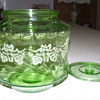 Green Depression Jar, with etching cut in glass. Need help with Info on this piece