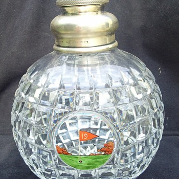 "Rare French market ""19th Hole"" golf decanter, Mappin and Webb c1894"