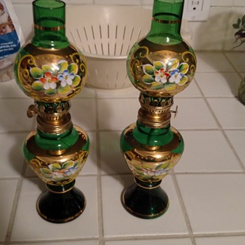 Dabs Emerald Green Glass Oil Lamps