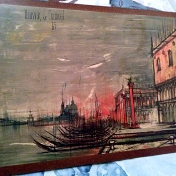 Bouvier de Cachard Venice print on board 1965 - Visual Art