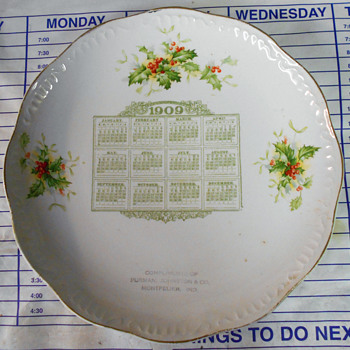1909 calendar plate - Advertising