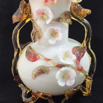 Victorian Bohemian Harrach Applied Art Glass Vase with Birds and Blossoms