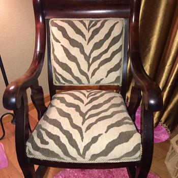 Antique rocking chair zebra print