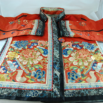 Chinese Silk Jacket with Forbidden Stitch Embroidery  - Asian
