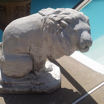 Pair of Vintage Cast Stone Lion Fountains