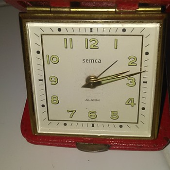 And another little German red leather clock
