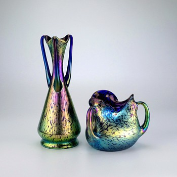 NOT your average pair of Loetz Papillon vases - Art Glass