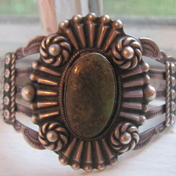 Silver Products coin silver Native American cuff bracelet - Native American