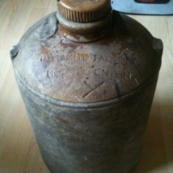 A Dynamite stoneware jar bottle