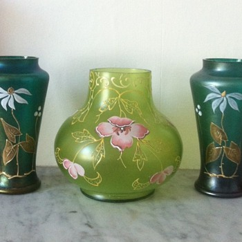 Green Art Nouveau trio - Heckert, Harrach or other? - Art Glass