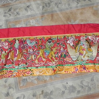 Chinese embroidered tapestry purchased by my mother in China in the 70s. Silk with animal hair and metal beads