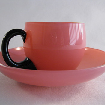 LOETZ  Pink Glass Tango Cup and Saucer Czechoslovakia
