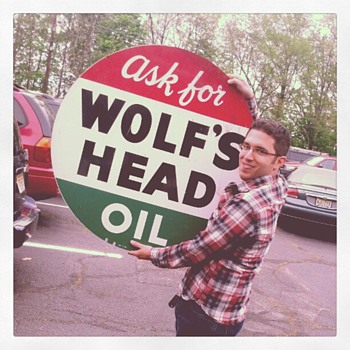 36&quot; Wolf&#039;s Head Oil - Double Sided Tin - Signs