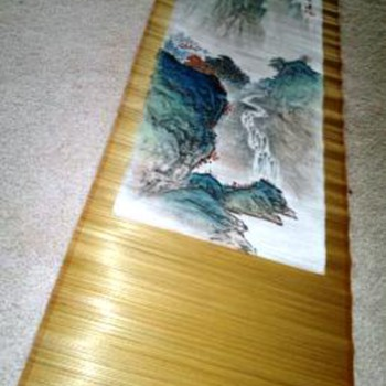 Chinese  painted bamboo scroll - Asian