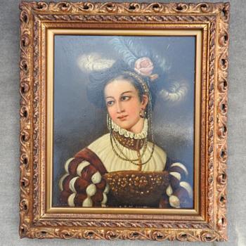Beautiful lady self-portrait oil-canvas - Visual Art