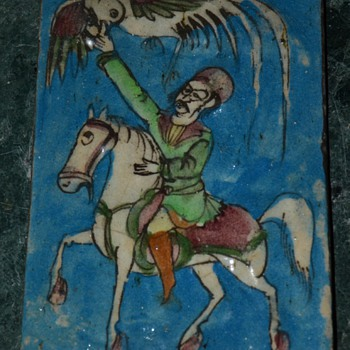 Persian Tile w/ Falconry Scene - Art Pottery