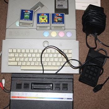 Atari  XE  8  bit  computer system and game  flight simulator,  ataristic, fun vintage system to play
