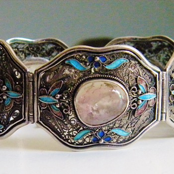 Antique Chinese Rose Quartz Enamel Filigree Panel Bracelet - Fine Jewelry