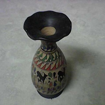 PRIMITIVE PAINTED DEER VASE