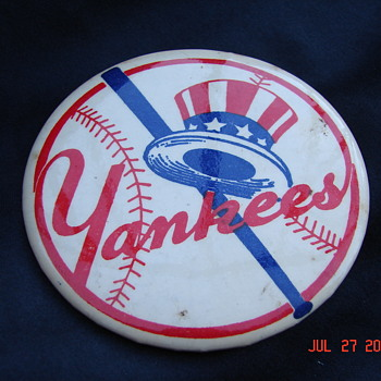 "Rare New York Yankees Pin Back Pin Button Bat Behind Yankee Hat 3 3/8"" Diameter - Medals Pins and Badges"