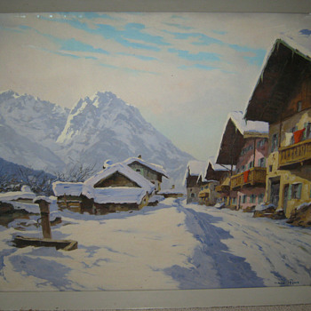 HANS FIGURA SWISS ALPS - VILLAGE SCENE  - OIL PAINTING