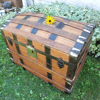1880's Antique Trunk Brass Overlay - Furniture