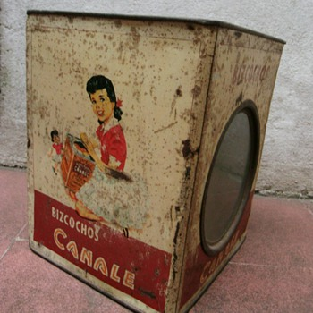 Old cookies tins. - Advertising