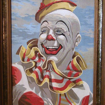 Vintage Clown Paint By Number - Posters and Prints