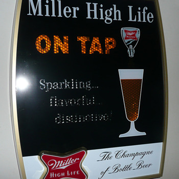 Two Miller High Life Pouring Glass Motion Signs - Breweriana