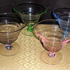 Set of four colored desert glasses 4 1/2""