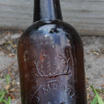 <<<J. Moore Old Bourbon Whiskey Bottle>>> - Bottles