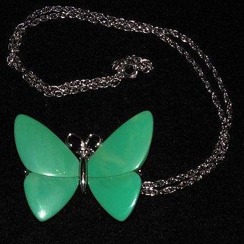 Trifari Turquoise Colored Butterfly Necklace with Silver Accents