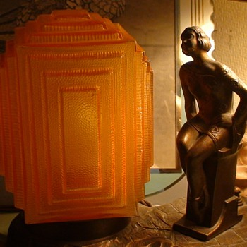 Art Deco Lamp Lady With Geometric Design Dress