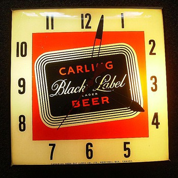 CANADIAN NEON-RAY CLOCK (aka Pam Clock) CARLING - BLACK LABEL BEER - ADVERTISING - Clocks