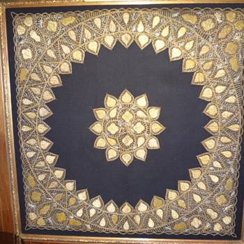 unique gold thread textile panel - Rugs and Textiles