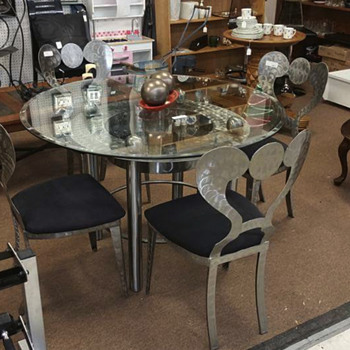 Stainless steel table with 4 chairs